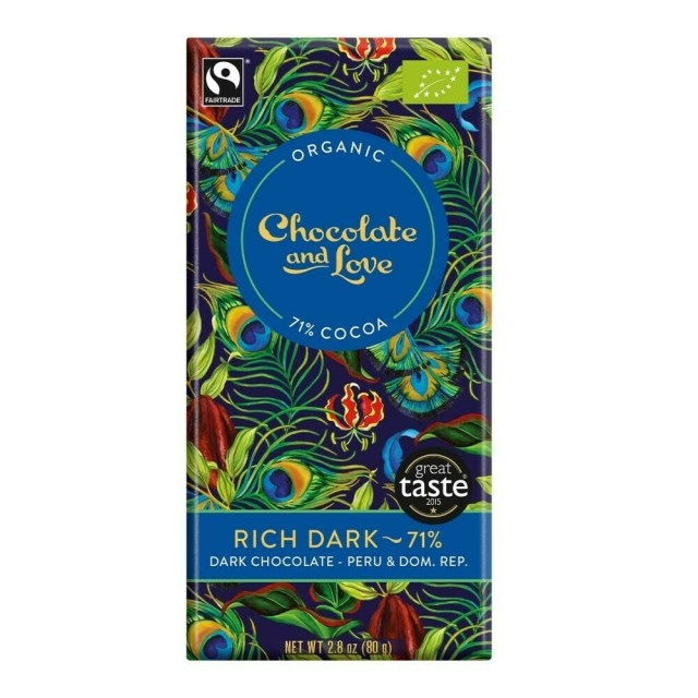 Chocoloate & Love Organic Rich Dark Chocolate 71% Cocoa 80g