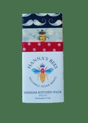 Hanna's Bees Reusable Vegan Wraps Medium Kitchen Pack
