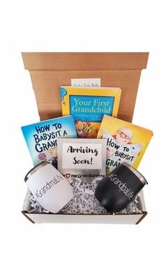 New Grandma and Grandpa Gift Set with Travel Coffee/Wine Tumblers   Pregnancy Announcement