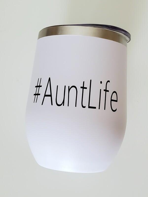 #AuntLife Travel Coffee/Wine Tumbler | Pregnancy Announcement
