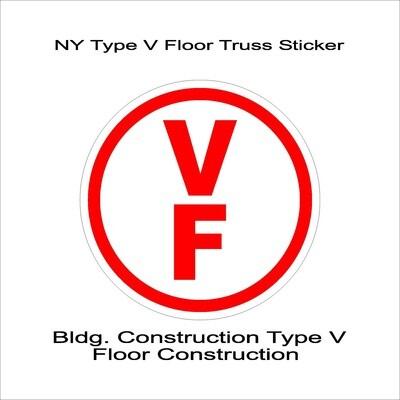 NY Type V Floor Truss Sticker