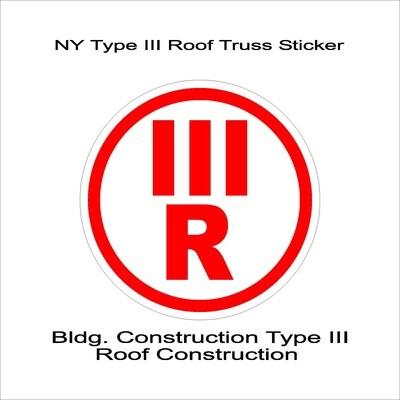 NY Type III Roof Truss Sticker