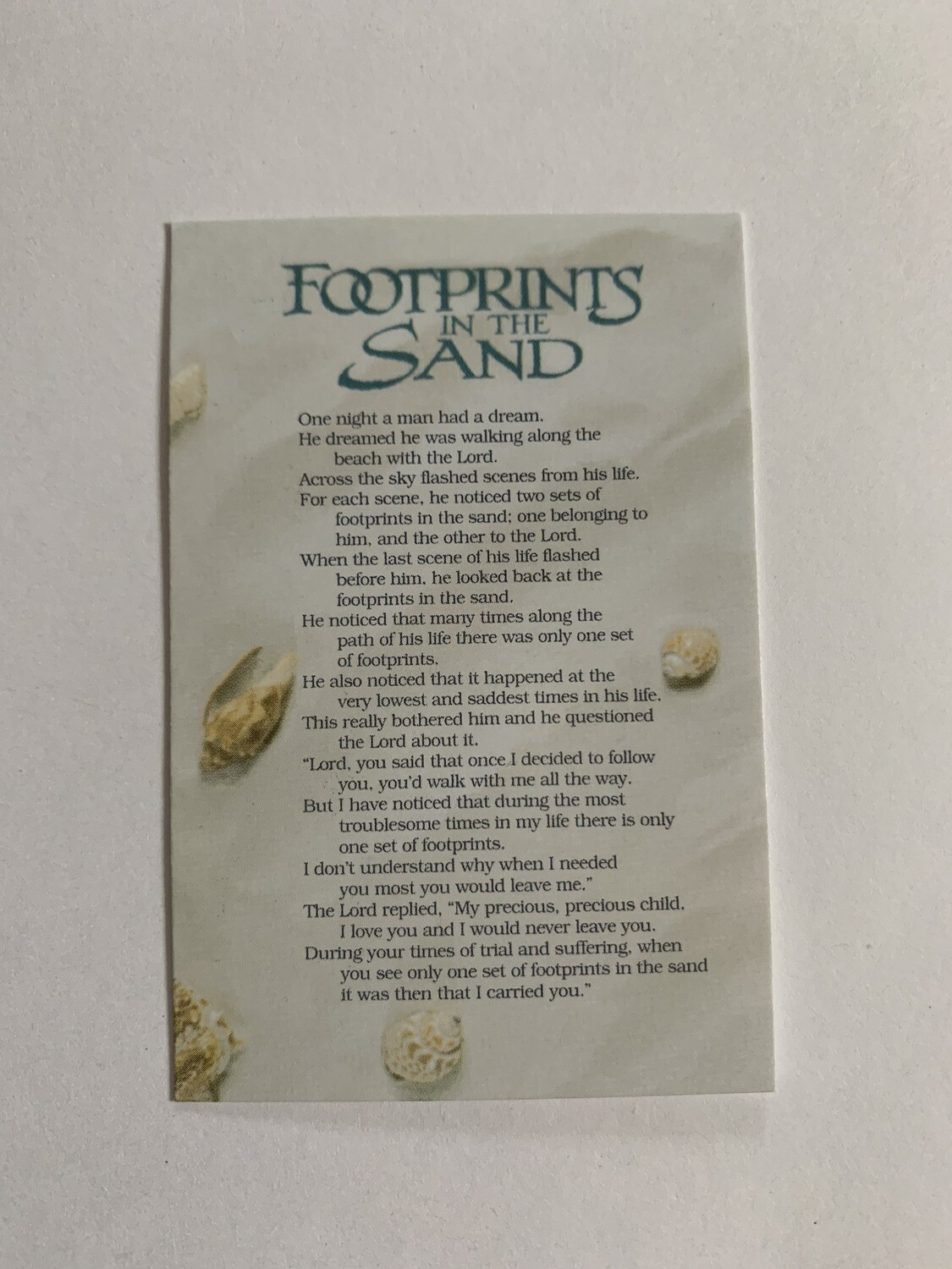 Pass It On - Footprints in the Sand (seashell)