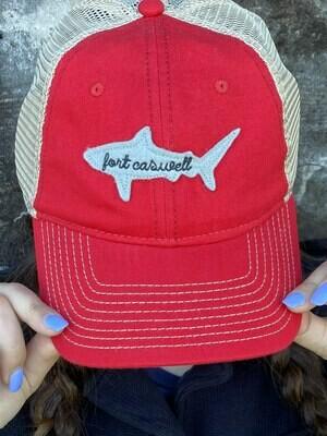 Red Fort Caswell Shark Trucker Hat