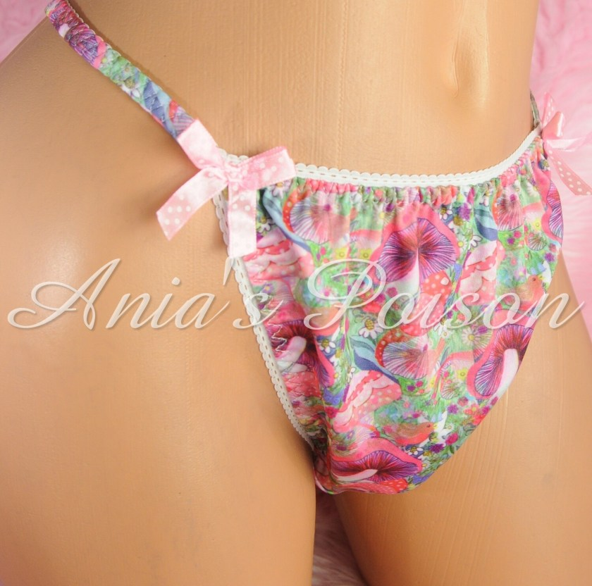 SISSY mens PANTIES PSYCHEDELIC SHROOMS Mushroom Spandex Stretch String Bikini