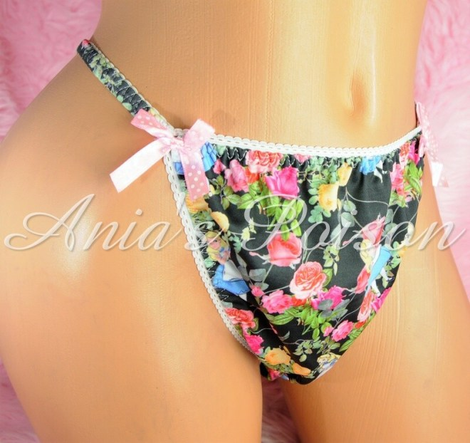 SISSY mens PANTIES Alice in Wonderland  Childhood Print Spandex Stretch String Bikini