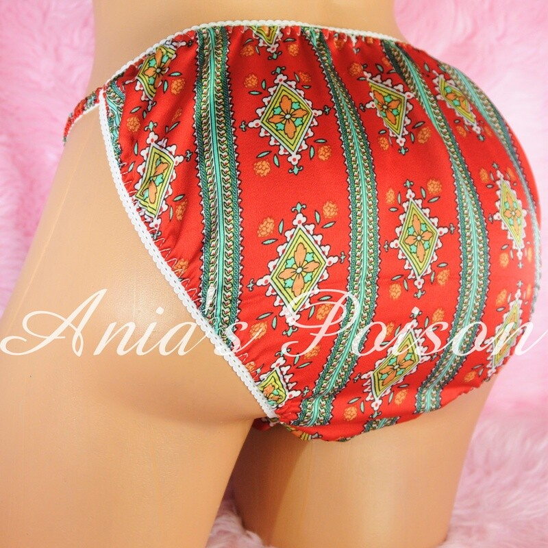 Ania's Poison Christmas Edition Classy Red Green Print 100% polyester silky soft string bikini sissy mens underwear panties