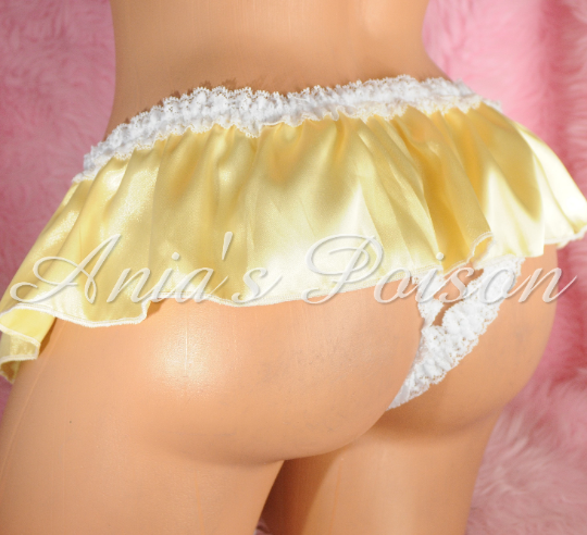Anias Poison Unisex open crotch Crotchless butterfly Satin Ivory sissy ruffled panties