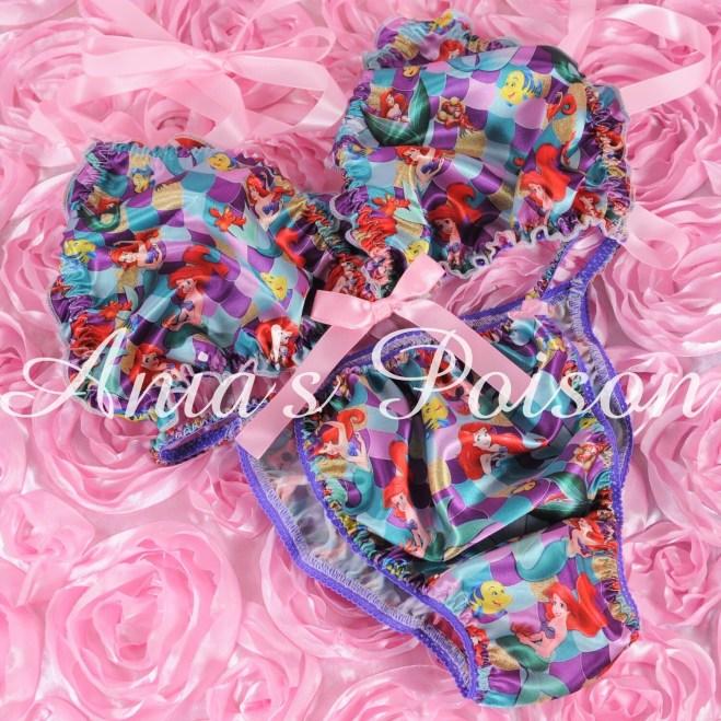 Ania's Poison MANties S - XXL Mermaid Princess Prints Super Rare 100% polyester string bikini sissy mens underwear panties/ Bra / FULL Set