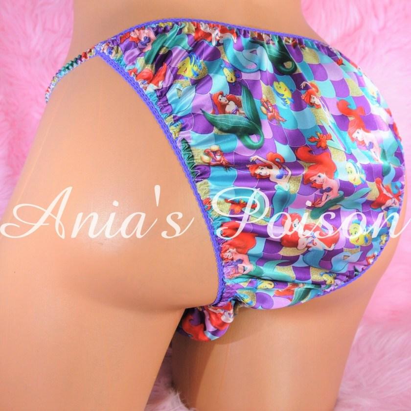 Ania's Poison satin String bikini Mermaid Princess Half Back Cheeky Cut MENS satin shiny panties
