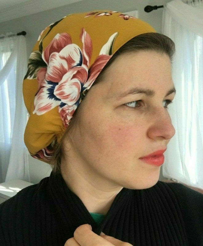 Mustard Floral reusable Long Hair Nurse Doctor Slouch hat/ Scrub Cap Bonnet Dentist hat made in USA