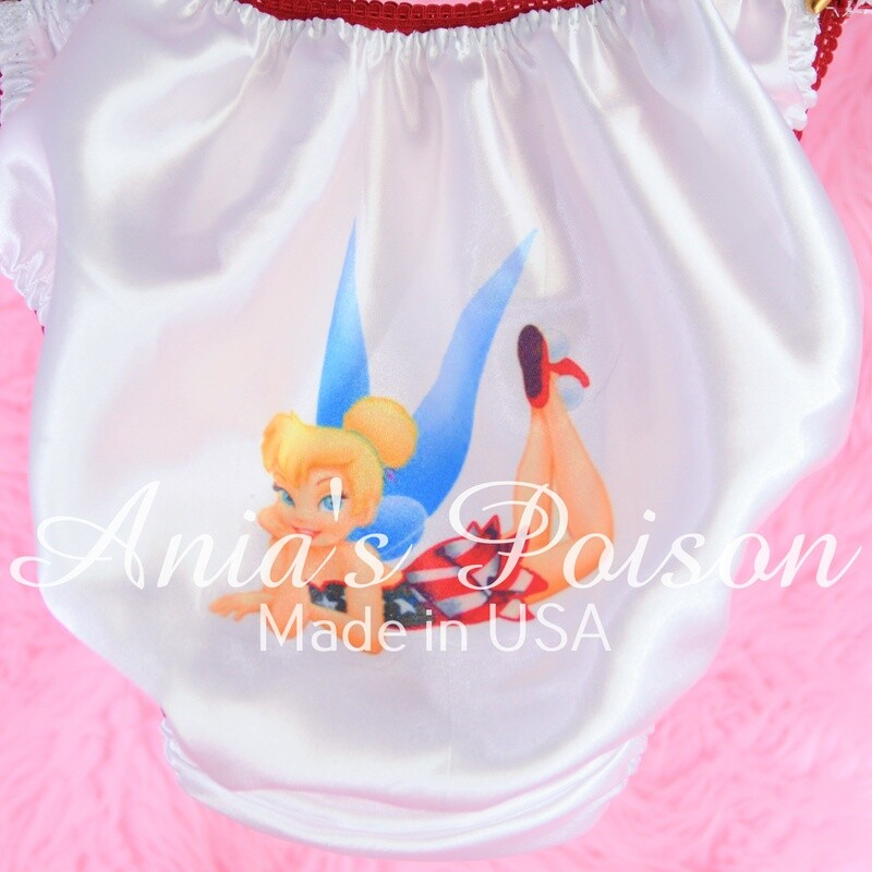 July 4th Pink Tinkerbell red white and blue shiny Satin string bikini panties
