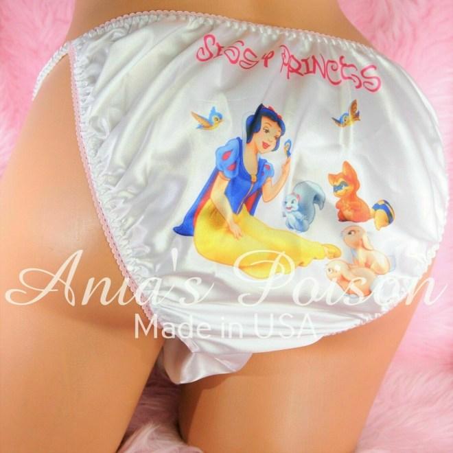 Rare classic Snow White Princess with animals, classic shiny Satin string bikini panties - Sissy Princess RARE