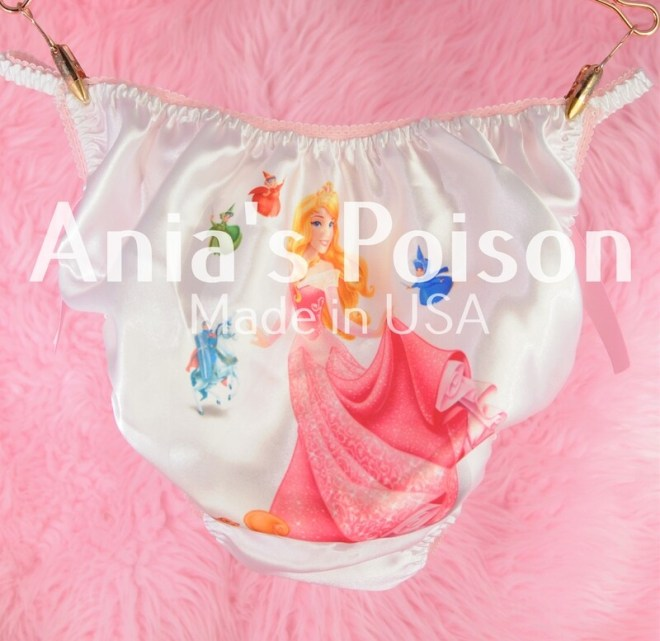 Rare classic Sleeping Beauty Princess with Fairies, classic shiny Satin string bikini panties - Sissy Princess RARE