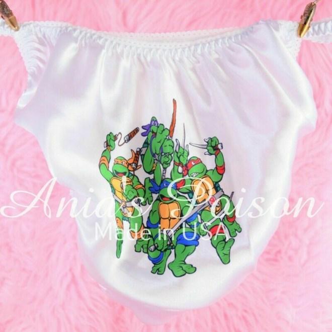 Ninja Turtles Cartoon Satin string bikini mens shiny panties 2 options
