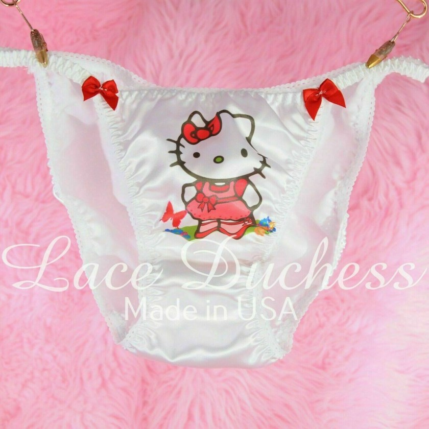 Lace Duchess Classic 80's cut Hello Kitty Garden Cat Character movie print satin wet look panties sz 5 6 7