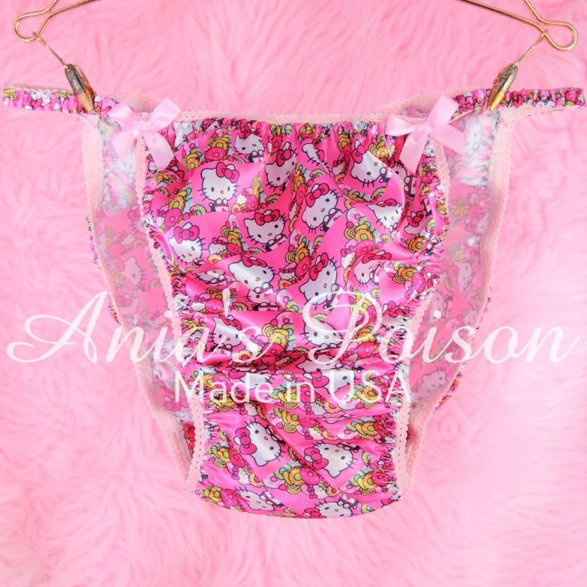 Ania's Poison Satin hello Kitty Pink Princess String Bikini mens panties - KAWAII