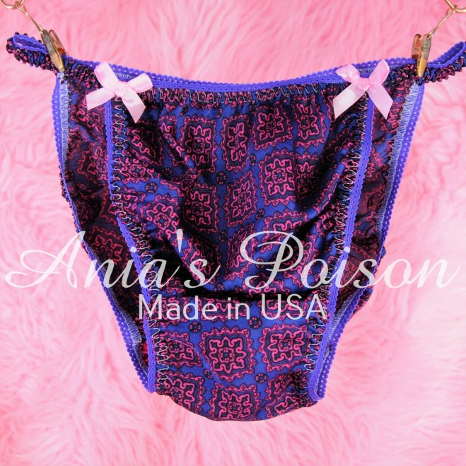 Ania's Poison purple Exotic Floral Prints 100% polyester string bikini sissy mens underwear panties