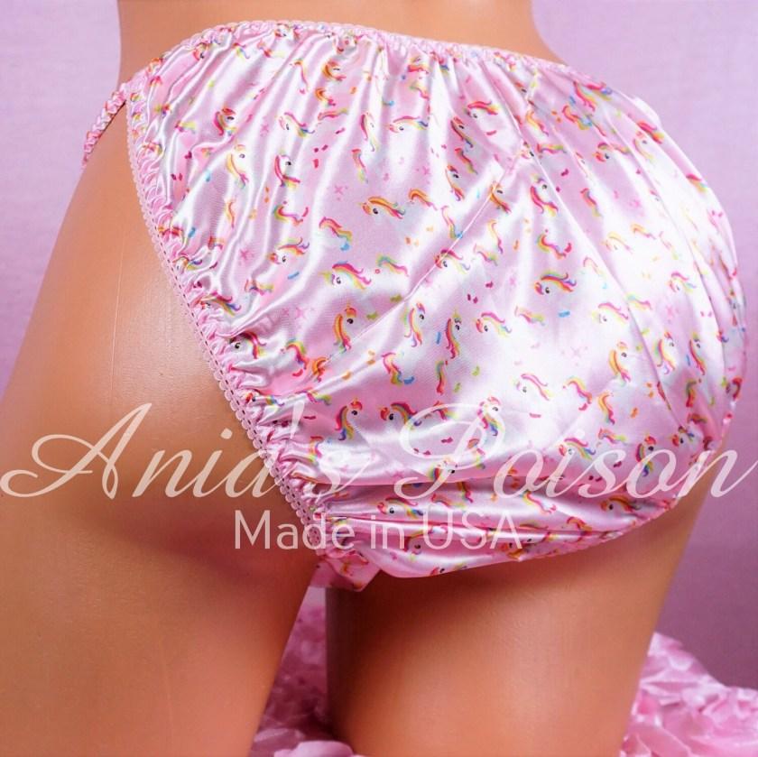 Satin Mens Sissy Print princess Unicorn Prissy maid 100% polyester string bikini mens underwear panties