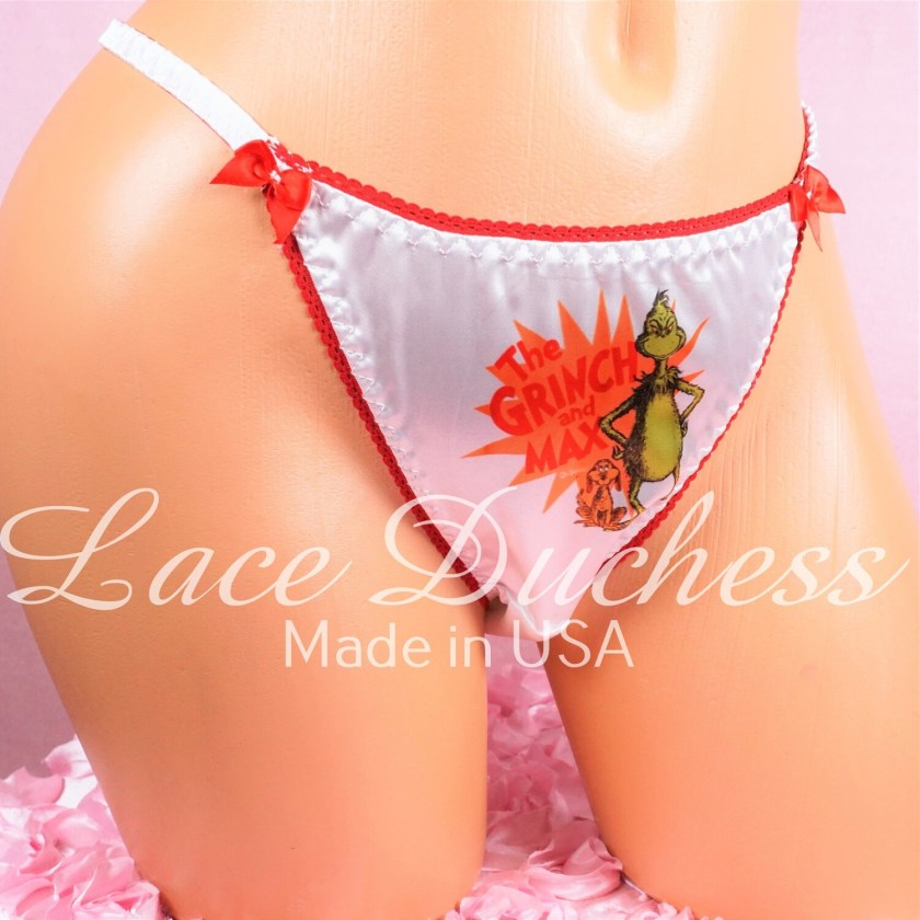 Lace Duchess Classic 80's cut Christmas Grouch and MAX Character movie print satin wet look panties sz 5 6 7