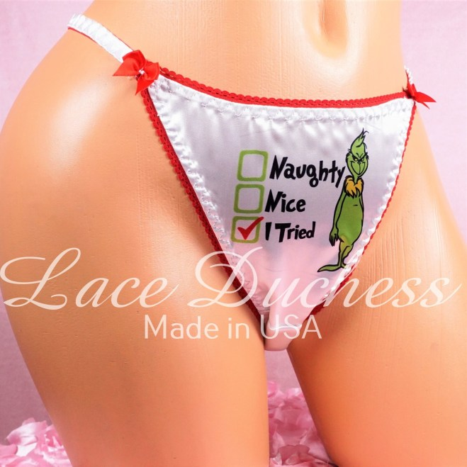 Lace Duchess Classic 80's cut Christmas Grouch Naughty And Nice Checklist Character movie print satin wet look panties sz 5 6 7