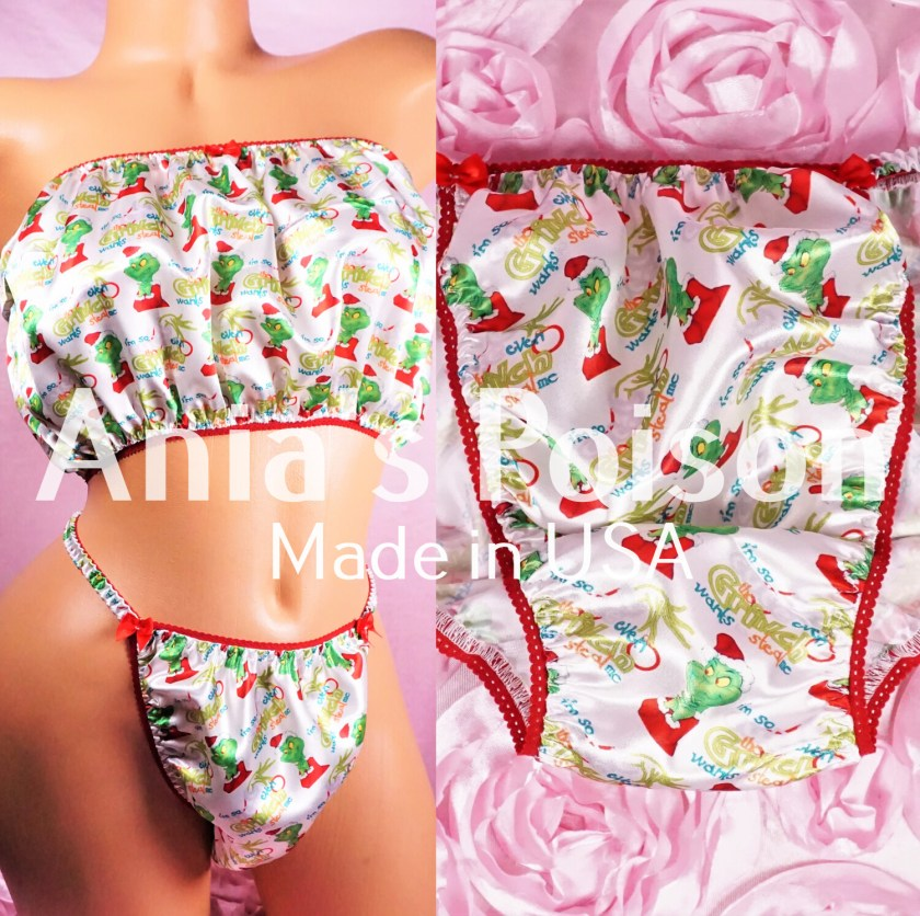 Ania's Poison Christmas Grouch Cute Santa Print 100% polyester silky soft string bikini sissy mens underwear panties
