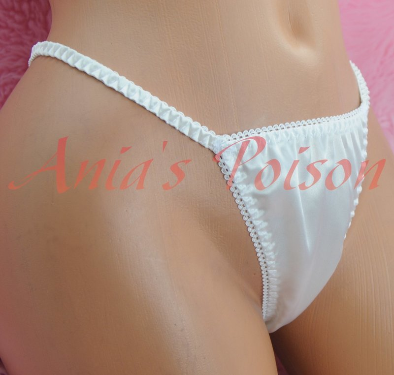 VTG style shiny satin string LADIES triangle T thong panties S/M LXL