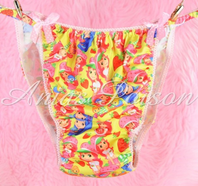 Rare Novelty Character print Spandex Stretch string bikini Strawberry Shortcake Princess Panties
