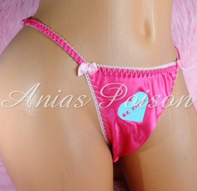 Valentine's Day Satin Ladies Custom Conversation Heart 80s style string bikini panties