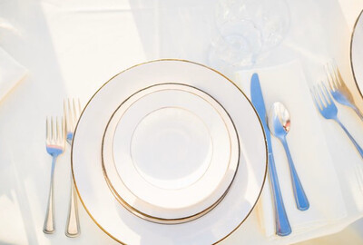 "Plate- 9"" Ivory with Gold Trim Dinner Plate"