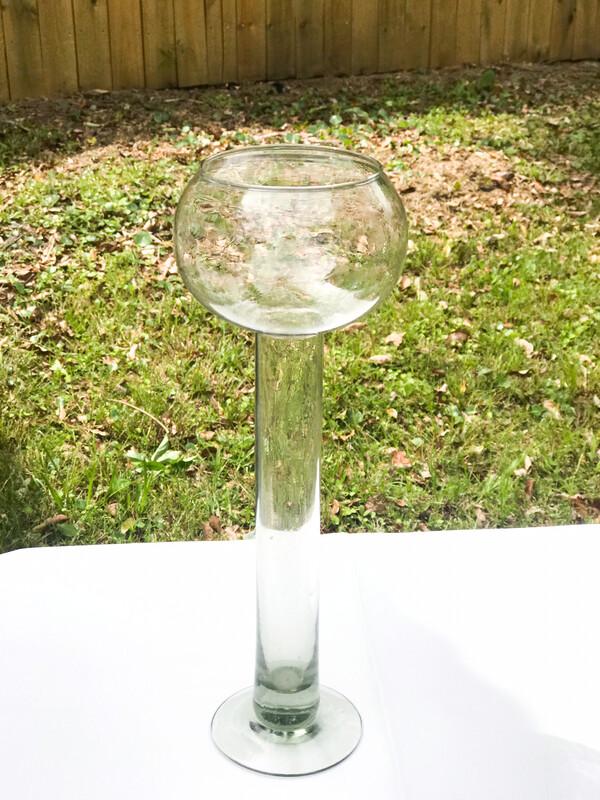 Bowl on Pedestal Glass Vase 11.5