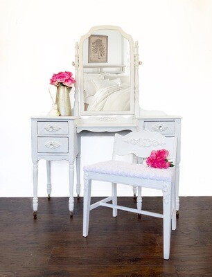 FURNITURE: White Vanity with Bench and Mirror