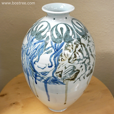 Lady, Tiger, and Fighter Illustrated Vase by Andy Boswell ABV00019