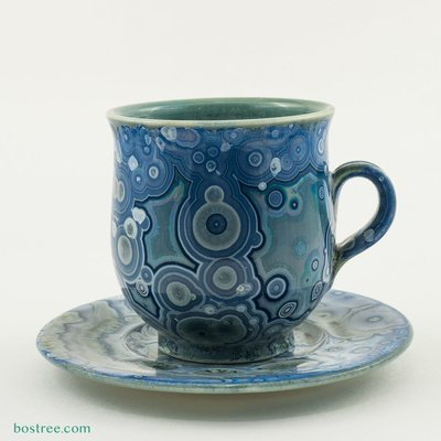Crystalline Glaze Cup and Saucer by Andy Boswell #ABCS003