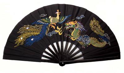 Abanico Negro de Bambu Original hecho a mano