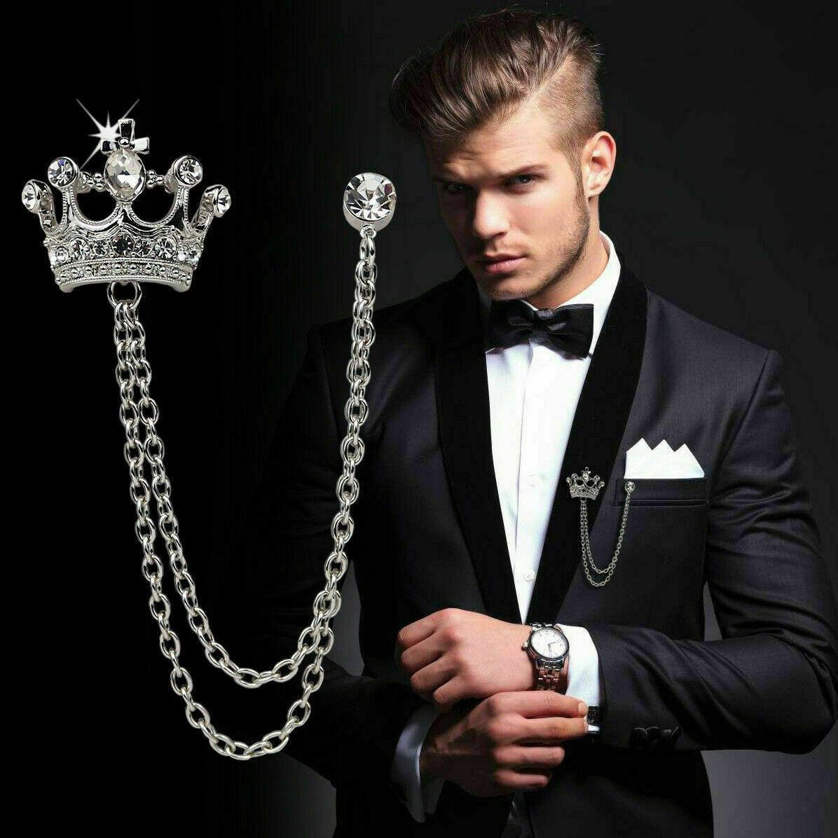 Mens Royal Crown Clip Chain Brooch