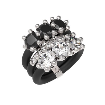 Women's Fashion Rings Le Corone, TRILOGY LUXURY, adjustable silicone bands, 925 sterling silver, CZ stones