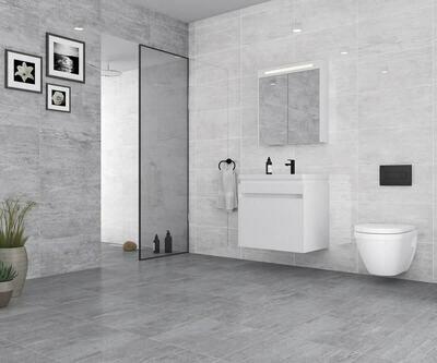Gloss Light Grey Ceramic Tiles 25 x 50 cm
