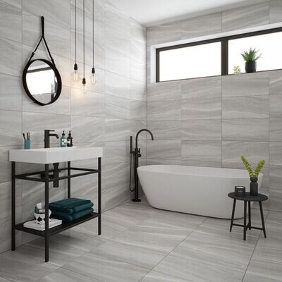 Verona Grey Porcelain Tiles 60 x 30 cm