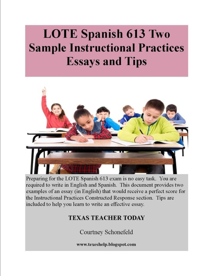LOTE 613 Two Sample Instructional Practices Essays in English