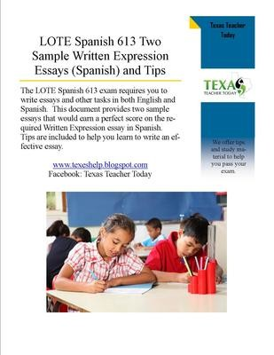 LOTE Spanish 613 Two Sample Written Expression Essays in Spanish