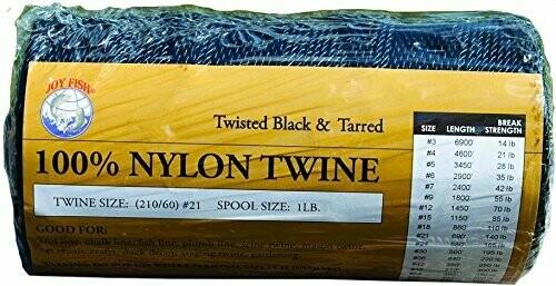 Joy Fish Nylon Twisted Twine– Black & Tarred Size 12