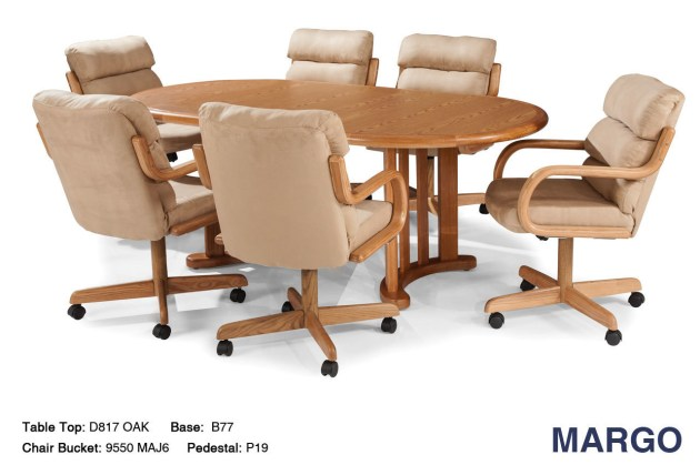 Margo Caster Chair Table Set, Rolling Dining Room Chairs