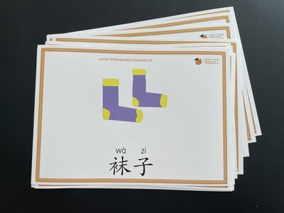 Picture-word cards + video (numbers, opposite and clothing)
