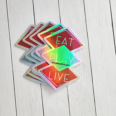 Eat Play Live 2x4 Oil Slick Sticker