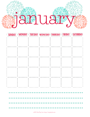 Monthly Calendar - Undated