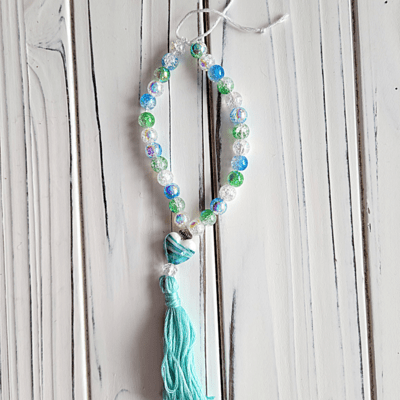 Blue + Green Glass Mala with Head Bead + Tassel