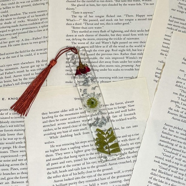 Standard Size Red and White Floral Bookmark