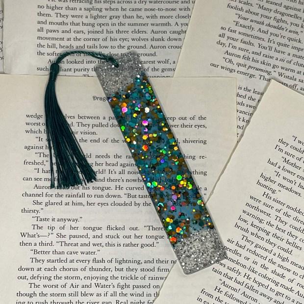 Standard Size Turquoise Glitter Bookmark