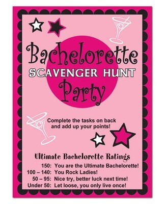 Bachelorette Scavenger Hunt Game